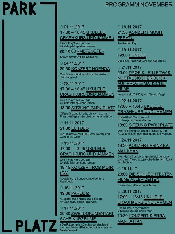 Monatsprogramm November: Konzerte, Kino und Kulinarisches