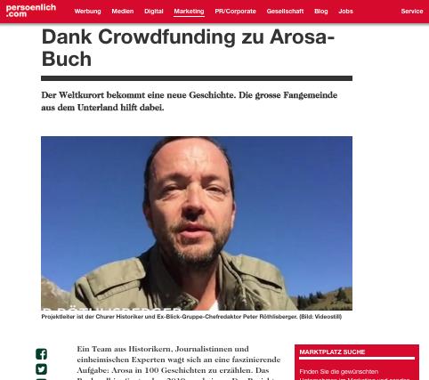 Arosa-Crowdfunding in den Medien!