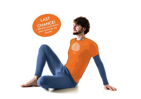 +100 orange Kick-COVID T-Shirts
